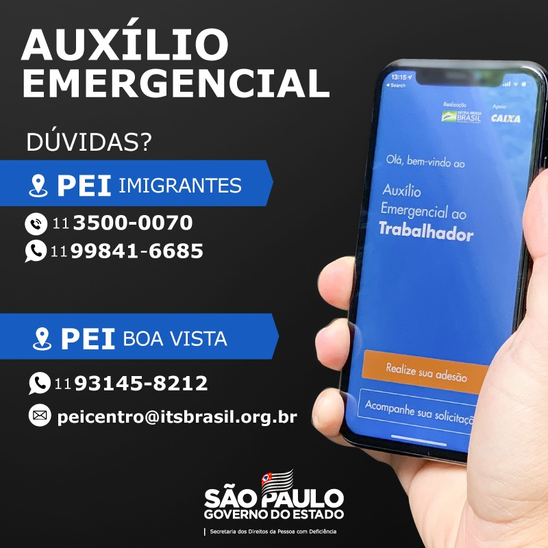 card informativo com dados do post e foto de mão segurando celular, em sua tela a página do Auxílio Emergencial ao Trabalhador