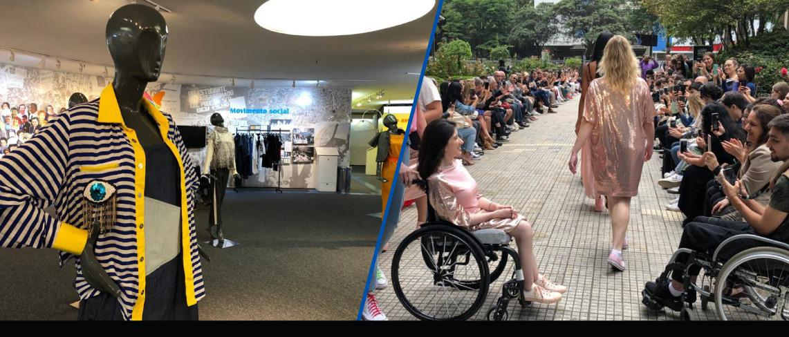 foto de manequins ao lado foto de desfile de moda inclusiva com foco em cadeirante